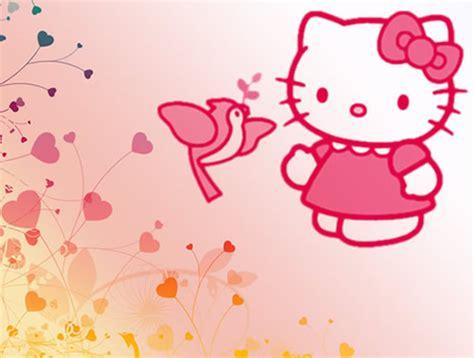 imagenes kitty rosa hello kitty con ave rosa y flores en forma de coraz 243 n