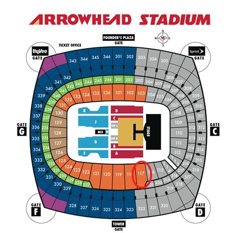 arrowhead stadium seating chart for kenny chesney arrowhead stadium concert seating chart chesney and