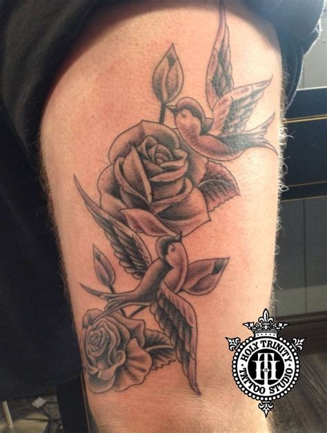 swallow and rose tattoos best 25 on thigh ideas on pearl