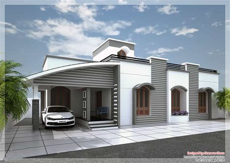 single story house elevation modern single floor kerala villa at 1350 sq ft