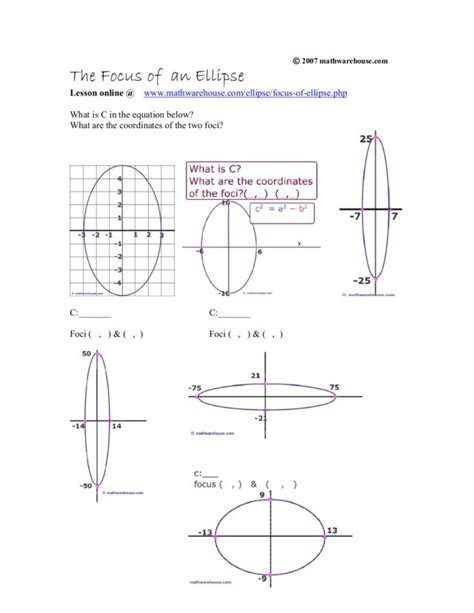 graphing conic sections worksheet graphing conic sections worksheet worksheets ellipse