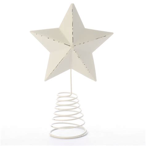 primitive white washed star tree topper christmas trees