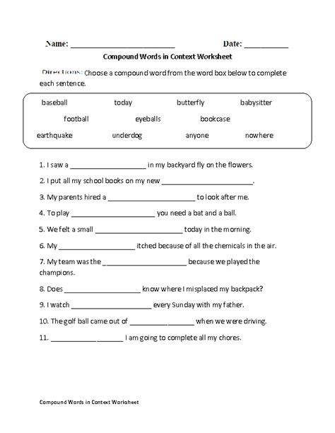 englishlinx compound words worksheets