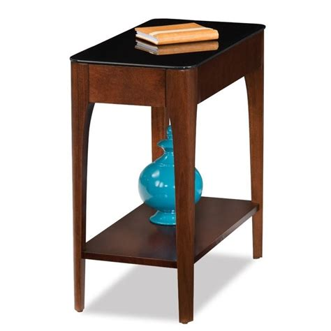 narrow accent table leick obsidian glass top narrow end table in chestnut 11105