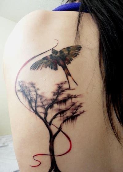 gorgeous tree and bird female tattoofemale tattoos gallery