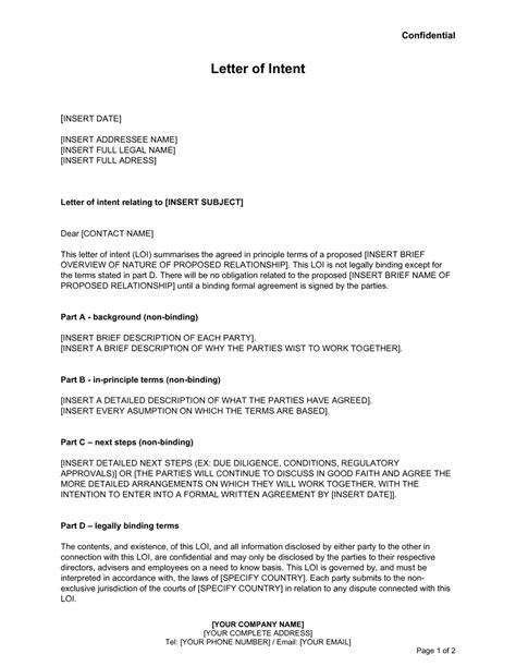 letter intent template business box