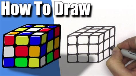 easiest tutorial rubik s cube how to draw a rubik s cube easy step by step youtube
