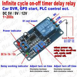 dc5v 9v 12v infinite cycle delay timer time turn on loop relay switch module ebay