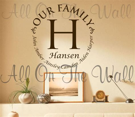 personalized last name wall decor vinyl wall decal family last name decals custom vinyl