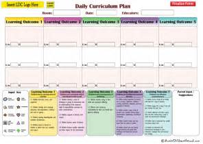 long daycare daily curriculum plan forms learning outcomes
