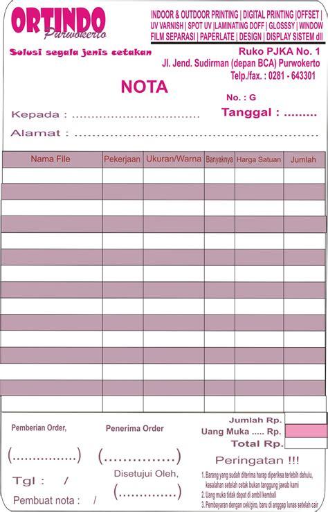 Printer Nota template nota cdr ldr print purwokerto