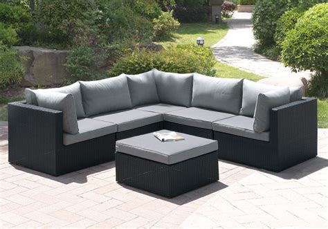 Outdoor Patio Furniture Sectionals 6 Pcs Outdoor Patio Pool L Shaped Sectional Sofa Set Ottoman Black Rattan Wicker Ebay