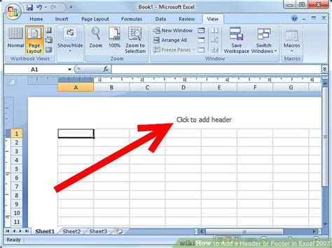 header layout exles how to add a header or footer in excel 2007 6 steps