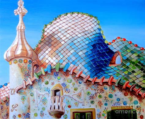 Online House Plans by Casa Batllo Gaudi Painting By Carmen Junyent