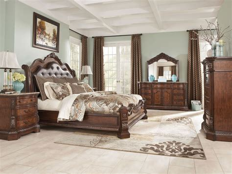 King Sleigh Bedroom Set Furniture B705 Ledelle King Sleigh Bed Frame Bedroom Set W Marble Ebay