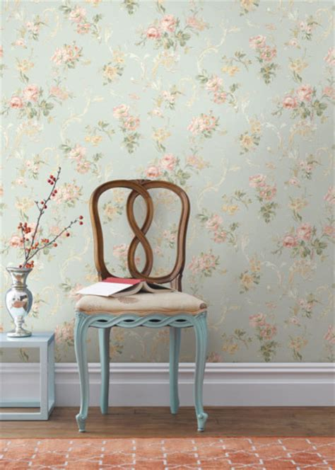 floral wallpaper designs for living room blue floral acanthus trail wallpaper traditional living room other metro by brewster