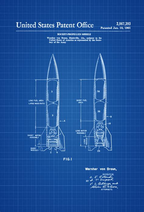 blueprint drawing program missile patent space space poster space program