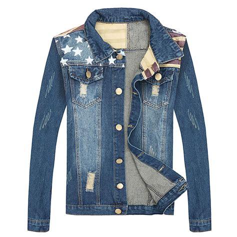 Mens Patchwork Jacket - new fashion design usa flag patchwork denim jacket