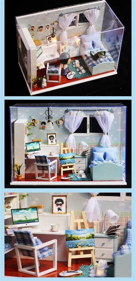 Doll House Decoration by Diy Miniature Bedroom Led Doll House Box Home