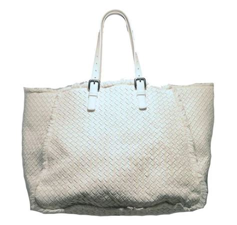 Bottega Veneta Tartan Tris Satchel by Bottega Veneta White Woven Leather Fringe Trim Tote