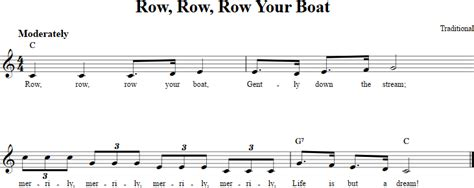 row your boat letra row row row your boat treble clef sheet music for c