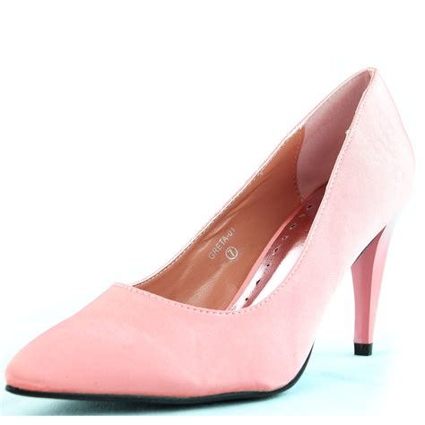 pink satin high heels coral pink satin almond toe pumps pointed toe high heels