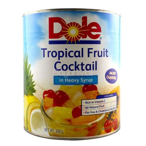 dole tropical fruit cocktail in heavy syrup net wt 3062g