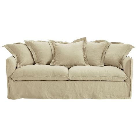 linen sofa bed 3 4 seater washed linen sofa bed in ecru barcelone