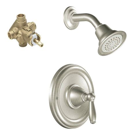 Temperature Shower Faucet moen brantford single handle 1 spray posi temp shower faucet trim kit with valve in brushed