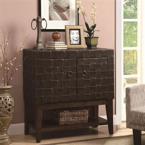leisure living entryway cabinet this unique accent cabinet features a woven leather like