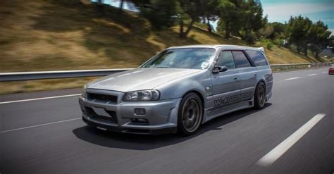 nissan family nissan stagea rs2 with a skyline gtr front end race