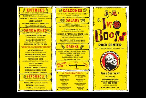 two boots menu work