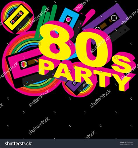 retro 80s party retro party background audio cassette tape stock vector