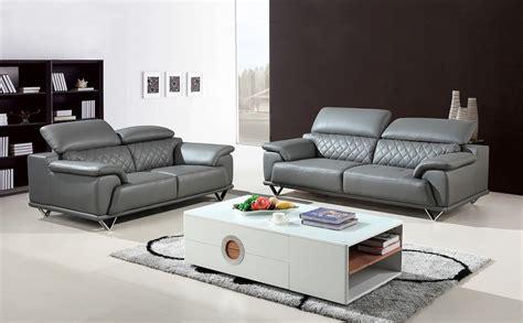 Sofa Casa Leather by Divani Casa Wolford Modern Grey Leather Sofa Set