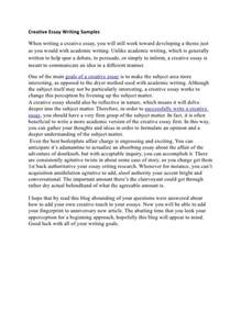 Of Writing An Essay by Creative Essay Writing Sles