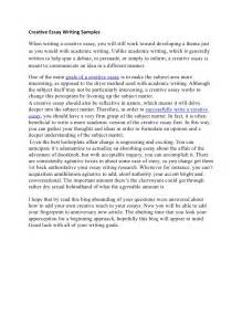 Essay Writing In by Creative Essay Writing Sles