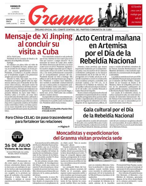viernes 25 de julio de 2014 qu 233 trae la prensa cubana viernes 25 de julio de 2014