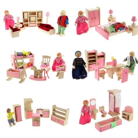 childrens dolls house furniture sets wooden doll set children toys miniature house family furniture kit accessories at banggood