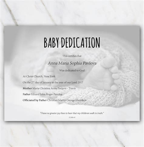 Baby Dedication Certificate With Babyfeet In Blanket On Background Baby Dedication Card Template
