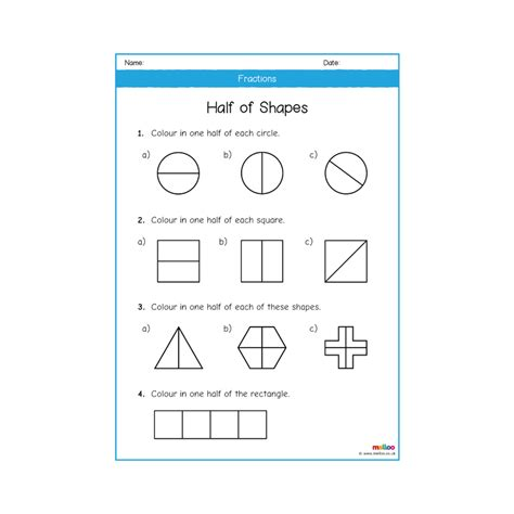 fractions year 1 worksheets maths melloo