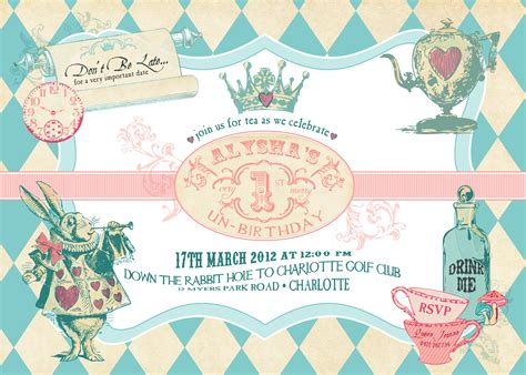 alice in wonderland birthday invitations drevio