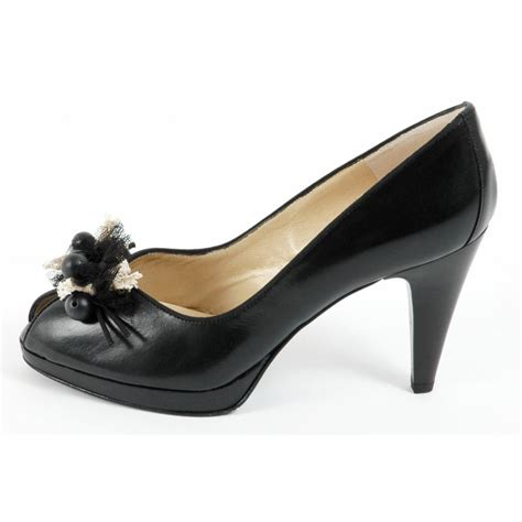 Peep Toe Shoes by Kaiser Manja Peep Toe Shoes In Black