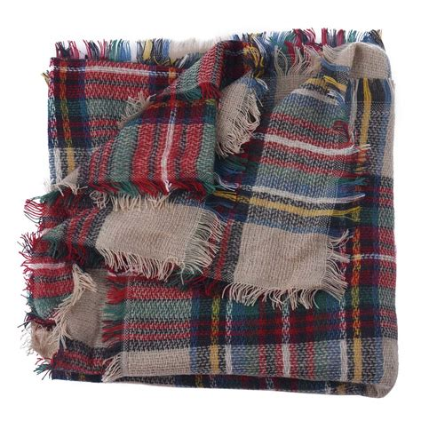 Pasmina Mix Motif newlydesign wool blend blanket oversized tartan scarf wrap shawl plaid checked pashmina in