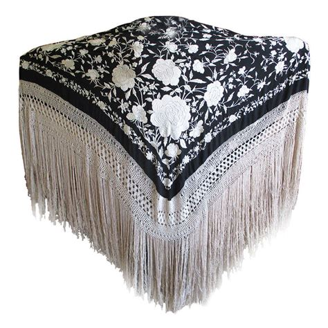 antique embroidered black and piano shawl at