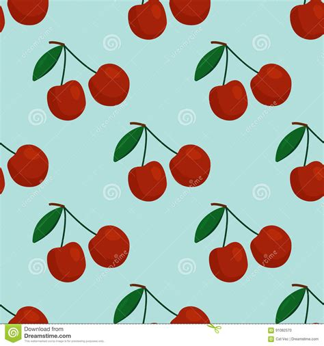 cherry pattern vector art cartoon fresh cherry fruits in flat style seamless pattern