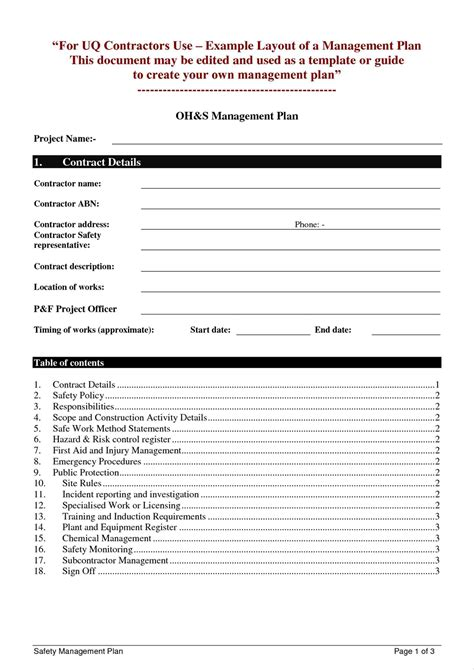 Ohs Management Plan Template by Beautiful Ohs Management Plan Template Contemporary