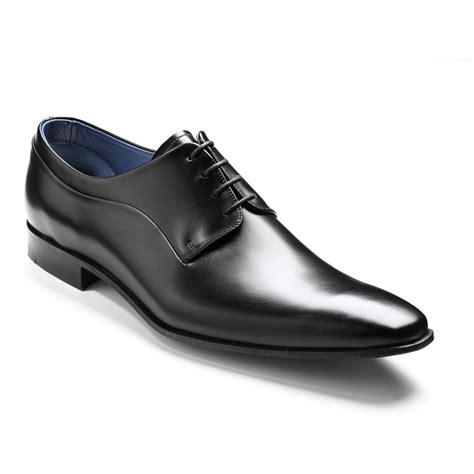 barker gibson mens black leather formal lace up shoes