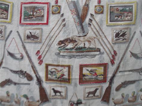 vintage barkcloth drapes vintage barkcloth gun hunting fabric drapes cabin patio
