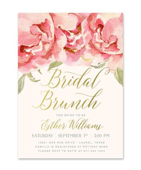 invitations for bridal shower luncheon everly bridal shower brunch invitation pink roses gold