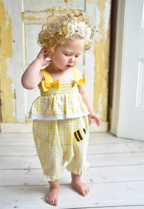 Sale Sn340 yellow checked bumble bee romper powell craft